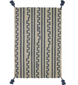 Chanda Cotton Rug Blue & Natural 4x6'