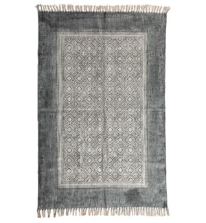 Taara Cotton Rug Denim Blue with Diamond 4x6'
