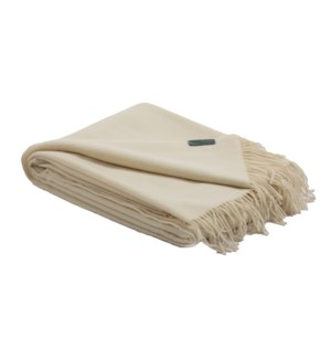 MILAN Wool/Cashmere Throw Winter White