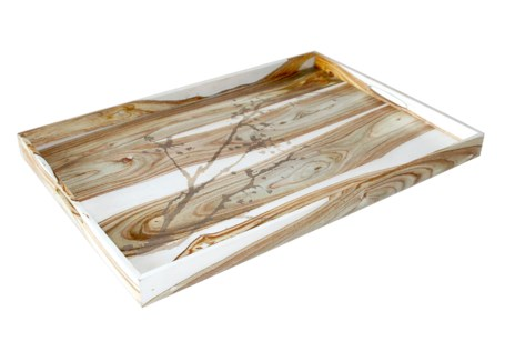 "Natural Motif Ottoman Tray (28"" x 20"") - White Rosewood"