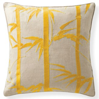 Florence Broadhurst Bamboo Hawaiian Mustard Cushion 18x18