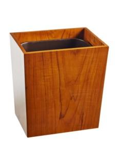 Captain's Wastebasket - Varnished Teak