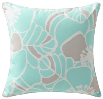 Rapee Cabana Hibiscus Aqua Cushion 20x20 (Outdoor)