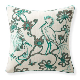 Florence Broadhurst Egrets Linen Topaz Cushion 22x22
