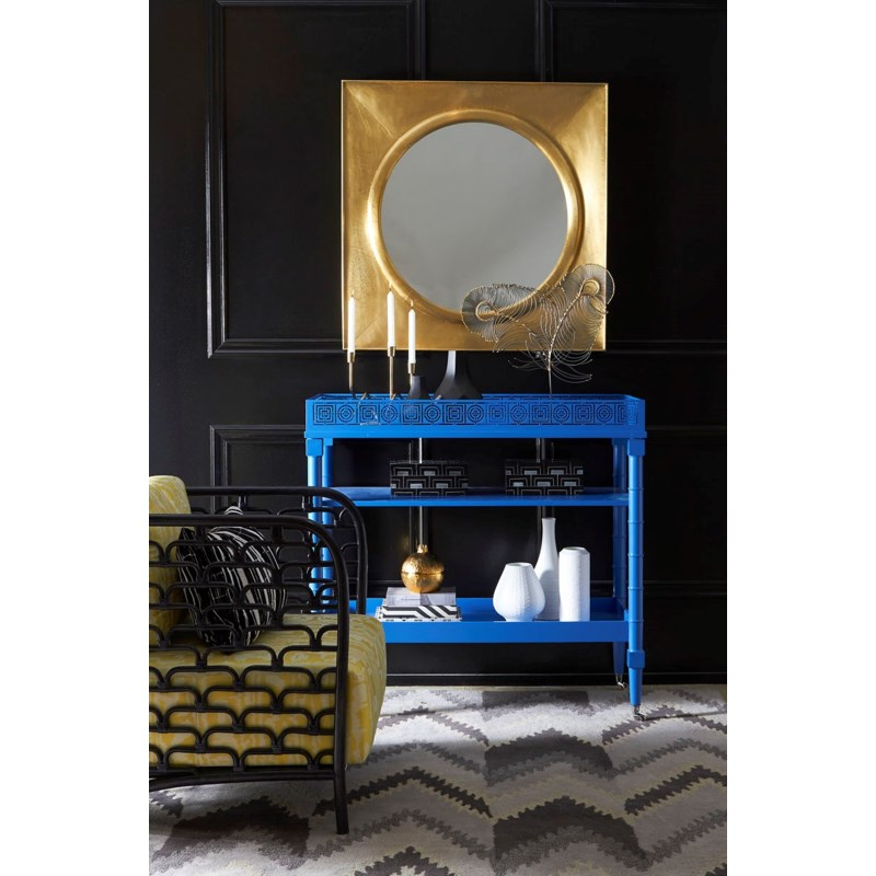 Mayfair Circle Squares Bar Cart in Blue
