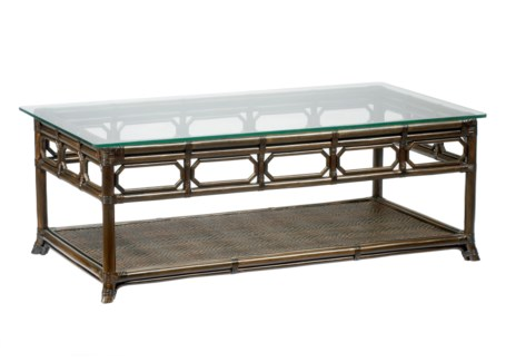 Regeant Rectangular Coffee Table w/Glass - Clove