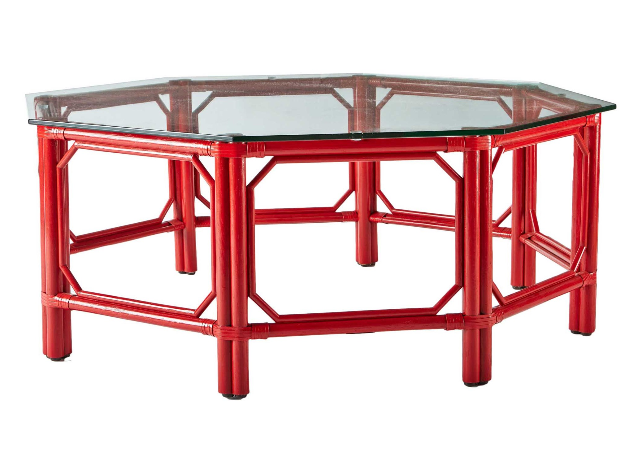 Regeant Octagon Coffee Table W/Glass   Antique Red