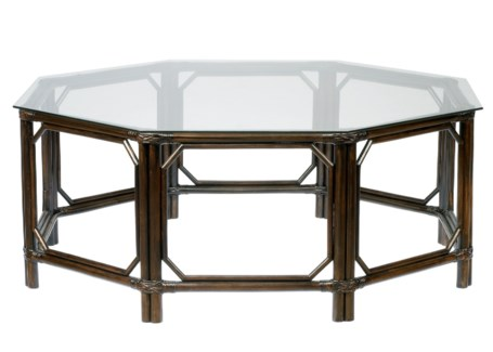 Regeant Octagon Coffee Table w/Glass - Clove