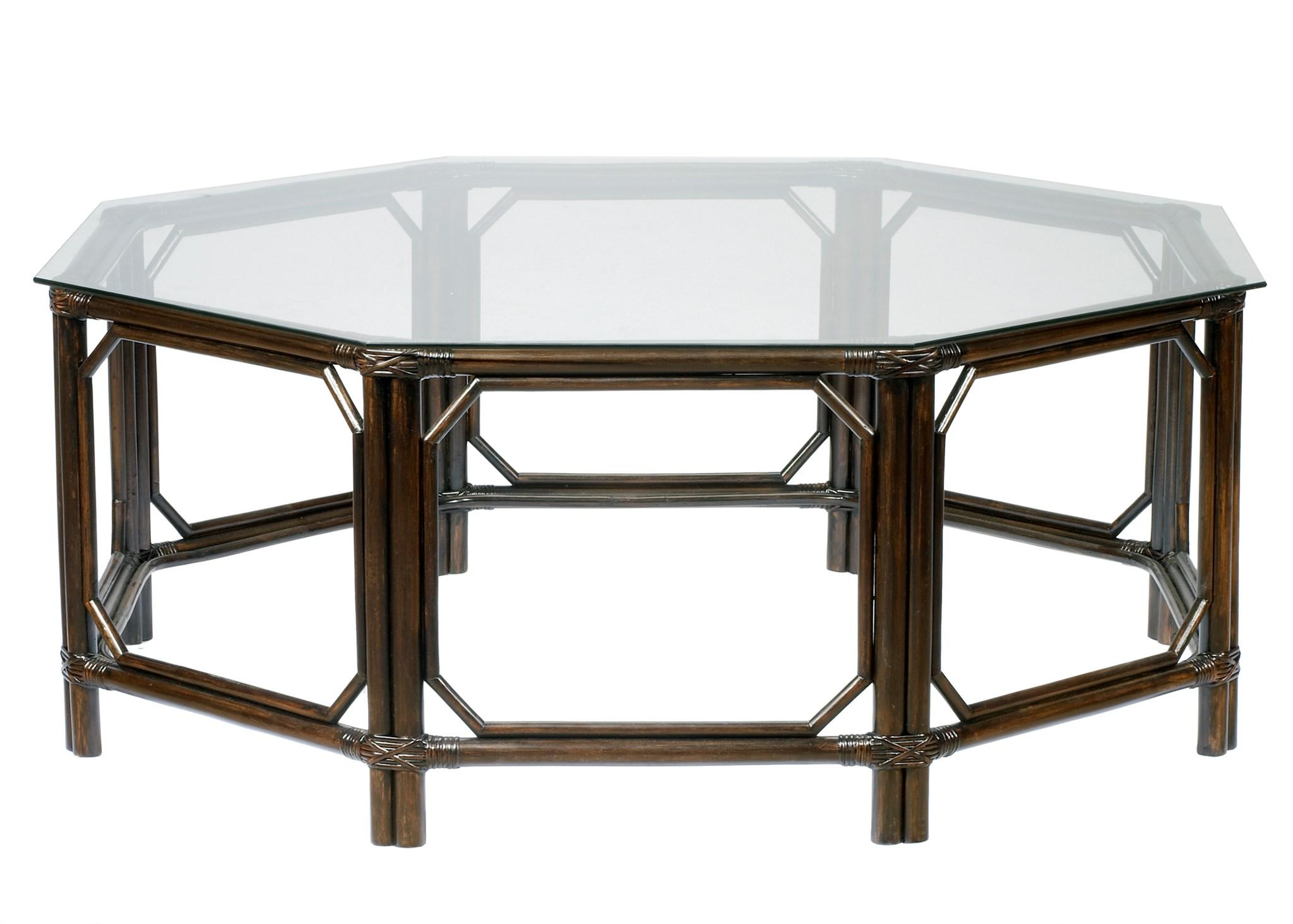 Regeant Octagon Coffee Table W/Glass   Clove