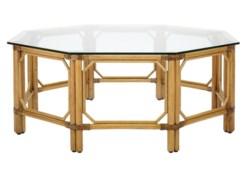 Regeant Octagon Coffee Table w/Glass - Nutmeg