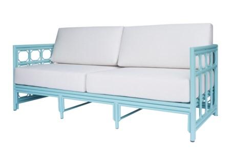 4-Season Regeant Sofa (aluminum) w/ Cushions - Light Blue