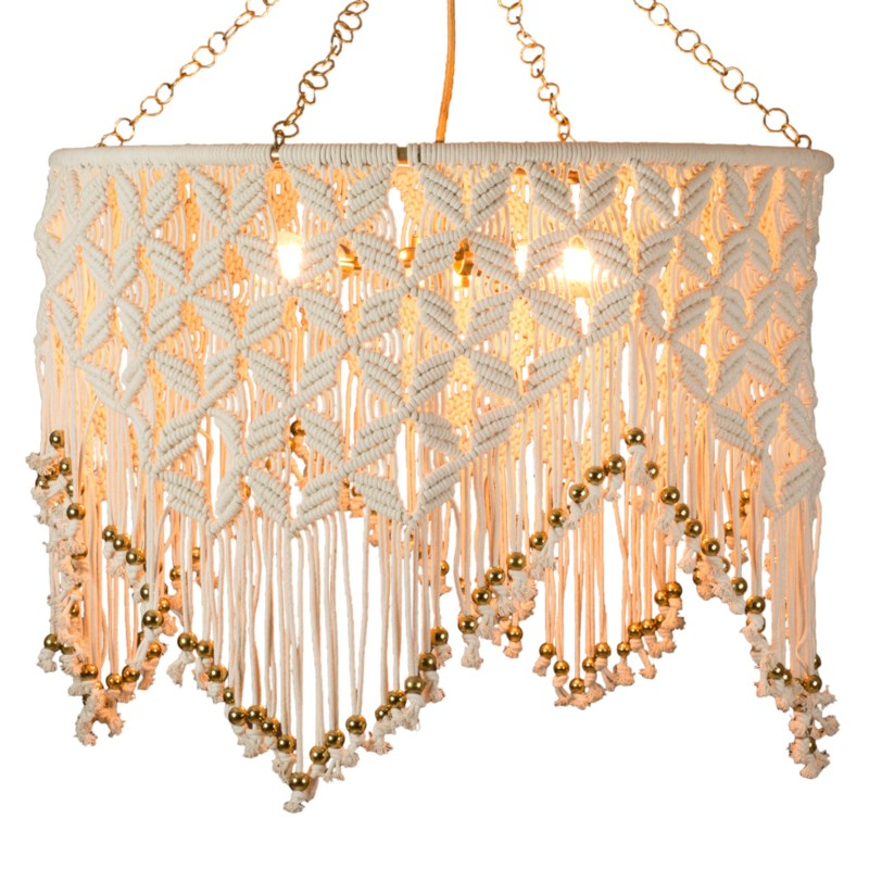 Sonora Macrame Chandelier in White