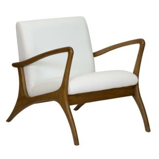 Soren Ventura Lounge Chair, Outdoor-Gray washed teak with Sunbrella white canvas fabric and outd...