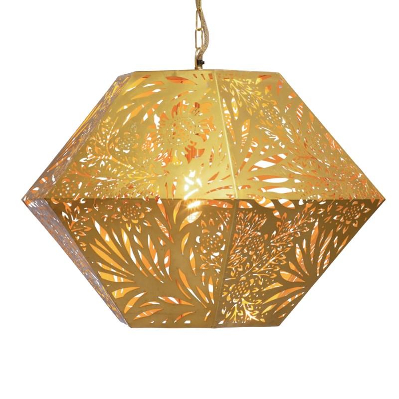 Marigold Hexagonal Pendant in Brass