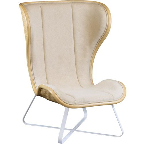 Bend Lounge Chair in Natural with Grey Fabric