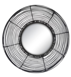 Beehive Round Mirror in Black