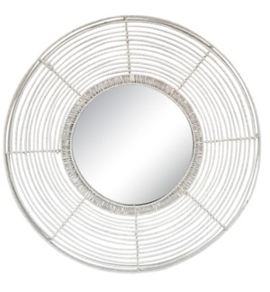 Beehive Round Mirror in White