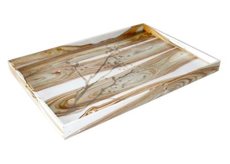 "Natural Motif Drinks Tray (20"" x 14"") - White Rosewood"
