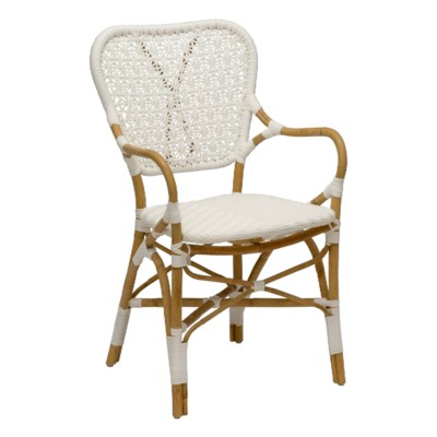Clemente Arm Chair in Natural/White