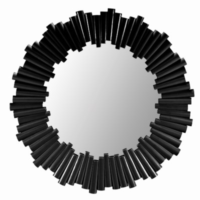 Charles Round Mirror in Black