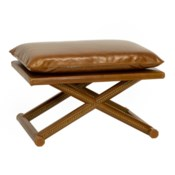 Leather X Stool - Antique Brown