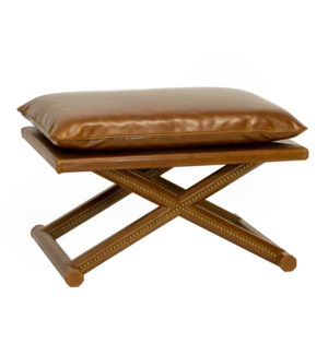 Leather X Stool in Antique Brown