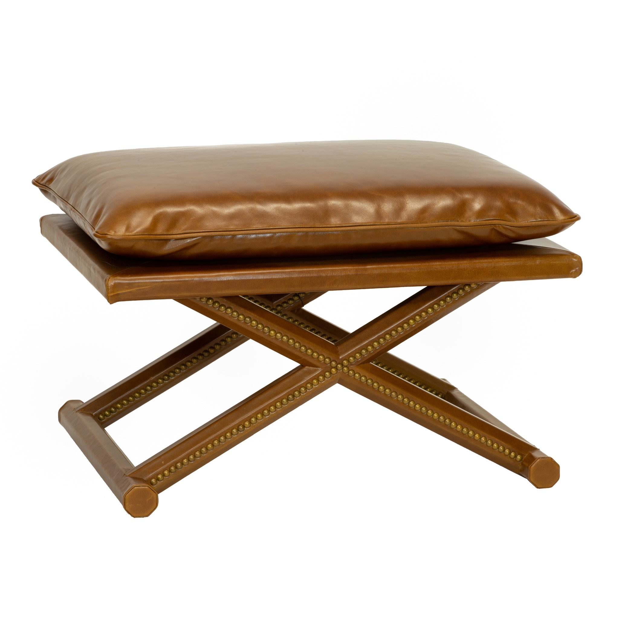Leather X Stool In Antique Brown Seating Selamat Designs