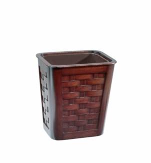 Small Woven Mahogany Wastebasket w/Insert