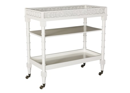 Mayfair Circle Squares Bar Cart in White