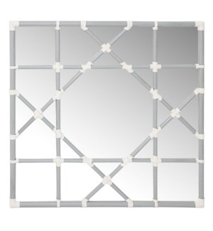 Mayfair Octagonal Lattice Mirror in Grey