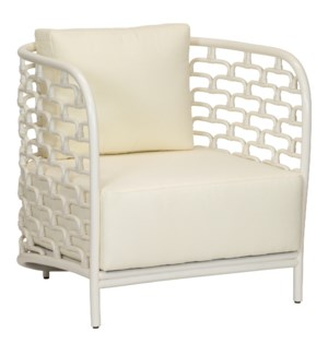Sydney Mod Steps Lounge Chair in Winter White
