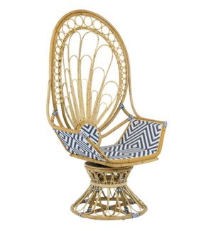Zahra Peacock Chair in Navy/White