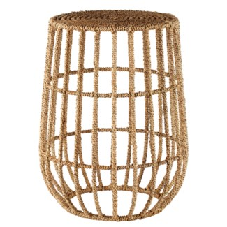 Jute Basket Side Table in Natural