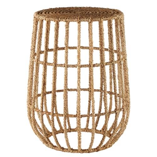 Jute Basket Side Table in Natural