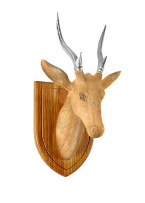 Stag Head Silver Antlers in Natural Teak