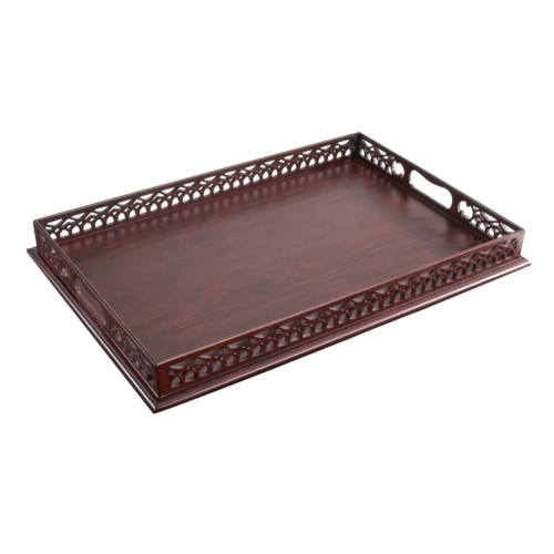 Embellished Serving Tray in Mahogany