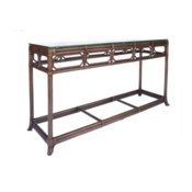 Regeant Console Table with Glass top in Cinnamon - LIQ
