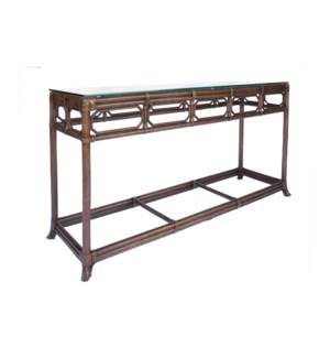 Regeant Console Table with Glass top in Cinnamon