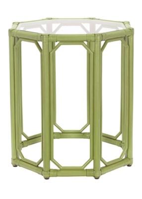 Regeant Octagon End Table w/Glass - Kiwi  (SPOT TABLE)