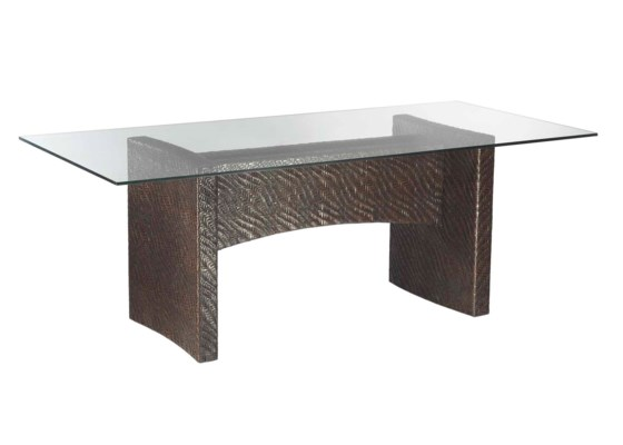 Riva Rectangular Dining Table Base, Hourglass Weave - Pepper