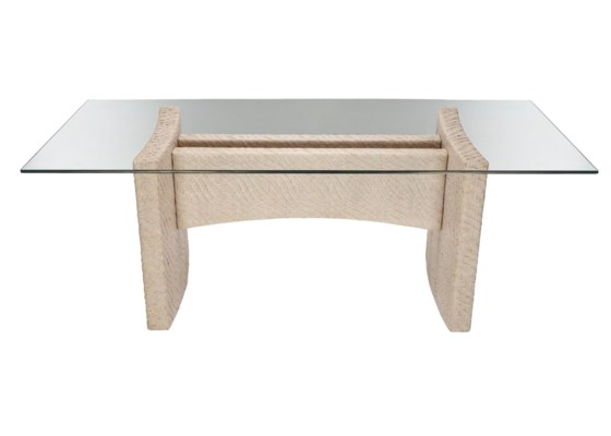 Riva Rectangular Dining Table Base, Hourglass Weave - Salt