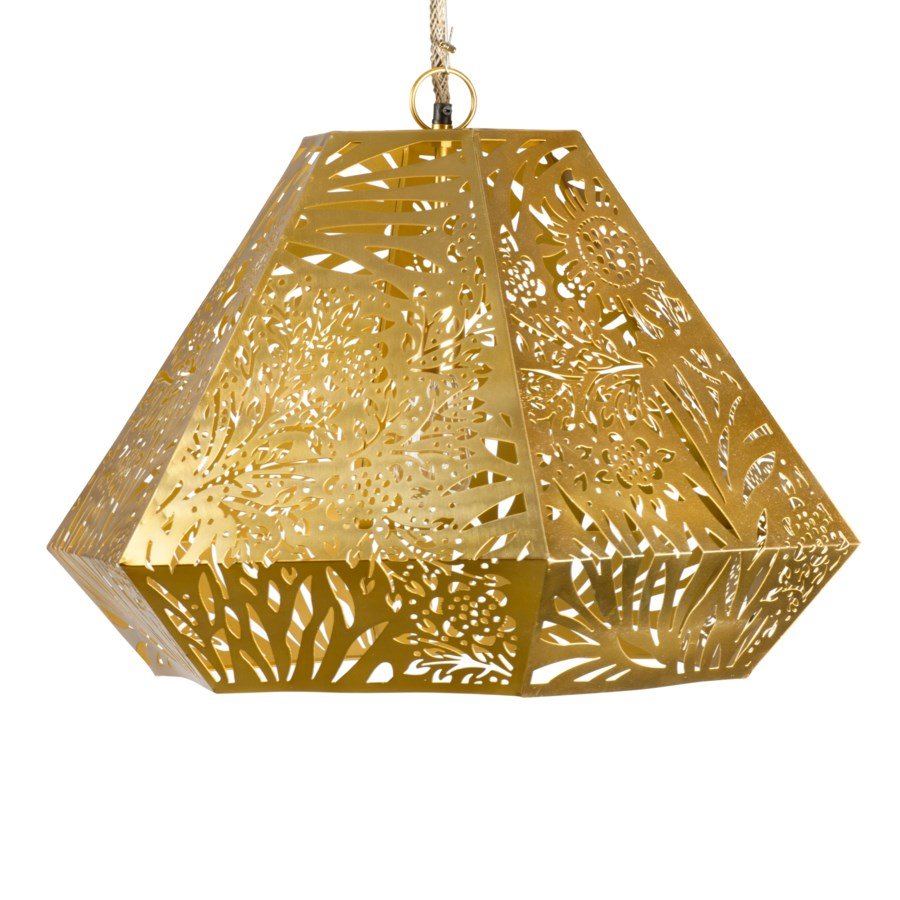 Marigold Diamond Pendant in Brass
