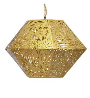 Marigold Hexagonal Pendant in Brass