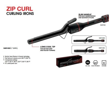 "DA BP RAPIDO 1"" CURLING IRON-SPRING HANDLE"