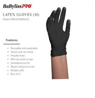 DA BP BLACK SATIN REUSABLE LATEX GLOVES MEDIUM 4/PCS