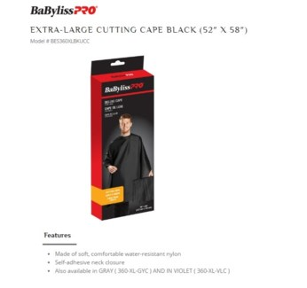 DA BP NYLON CUTTING CAPE BLACK - EXTRA LARGE