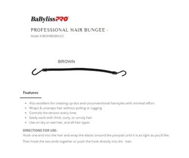 DA PROF HAIR BUNGEE, BROWN, 12/BAG