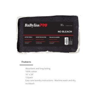 DA BP BLACK COTTON TOWELS 12/BAG