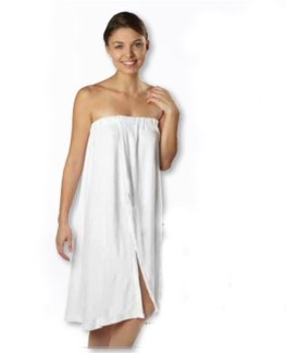 DA TERRY CLOTH SPA WRAP AROUND WHITE