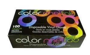 FRAM COLOR ME FAB DISPOSABLE VINYL GLOVES - MEDIUM/100 BOX